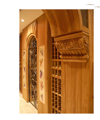 FWC walk-in wine cellar with wood carvings